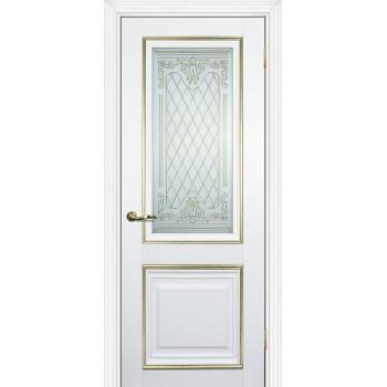 Дверь PSCL-27 Белый  Экошпон Белое, заливной витраж золото рис. Готика, двухсторонний со стеклом (Товар № ZF13057)