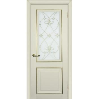 Дверь PSCL-27 Магнолия  Экошпон Белое, заливной витраж золото рис. Калипсо, двухсторонний со стеклом (Товар № ZF13060)