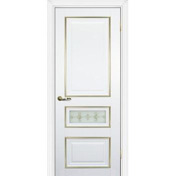 Дверь PSCL-29-1 Белый  Экошпон Белое, заливной витраж золото рис. Калипсо, двухсторонний со стеклом (Товар № ZF13065)