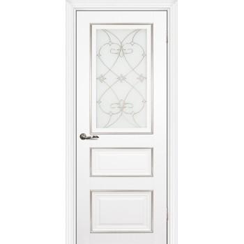 Дверь PSCL-29 Белый  Экошпон Белое, заливной витраж серебро рис. Калипсо, двухсторонний со стеклом (Товар № ZF13064)