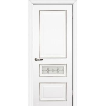 Дверь PSCL-29-1 Белый  Экошпон Белое, заливной витраж серебро рис. Калипсо, двухсторонний со стеклом (Товар № ZF13067)