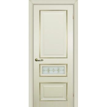 Дверь PSCL-29-1 Магнолия  Экошпон Белое, заливной витраж золото рис. Калипсо, двухсторонний со стеклом (Товар № ZF13066)