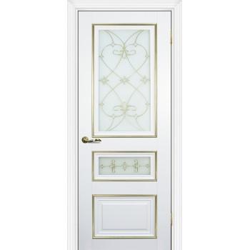 Дверь PSCL-29-2 Белый  Экошпон Белое, заливной витраж золото рис. Калипсо, двухсторонний со стеклом (Товар № ZF13068)