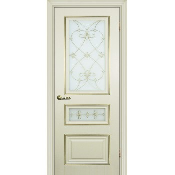 Дверь PSCL-29-2 Магнолия  Экошпон Белое, заливной витраж золото рис. Калипсо, двухсторонний со стеклом (Товар № ZF13069)