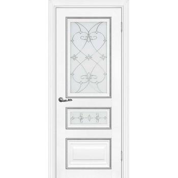Дверь PSCL-29-2 Белый  Экошпон Белое, заливной витраж серебро рис. Калипсо, двухсторонний со стеклом (Товар № ZF13070)