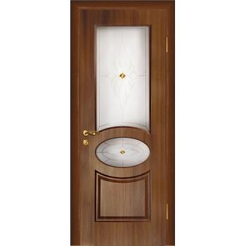 Дверь Алекс Темный орех  Шпон Сатинат, художественное, фьюзинг со стеклом (Товар № ZF12646)