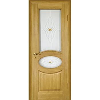 Дверь Алекс Светлый дуб  Шпон Сатинат, художественное, фьюзинг со стеклом (Товар № ZF12648)