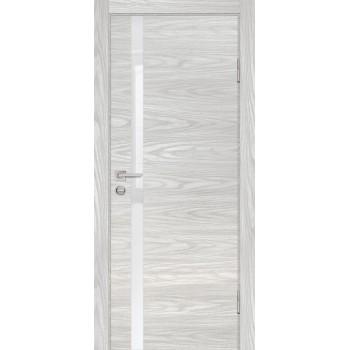 Дверь P-8 Дуб скай бежевый  Экошпон белоснежный лакобель со стеклом (Товар № ZF213312)
