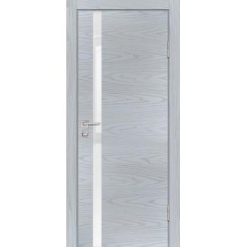 Дверь P-8 Дуб скай серый  Экошпон белоснежный лакобель со стеклом (Товар № ZF213313)