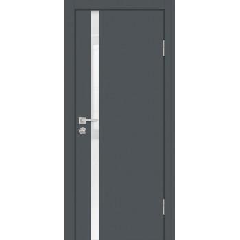 Дверь P-8 Графит  Экошпон белоснежный лакобель со стеклом (Товар № ZF213314)