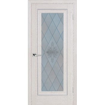 Дверь PSB-25 Дуб Гарвард кремовый  Экошпон Сатинат, пескоструйная обработка со стеклом (Товар № ZF114266)