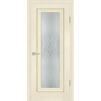 Дверь PSB-25 Ваниль  Экошпон Сатинат, пескоструйная обработка со стеклом (Товар № ZF114264)