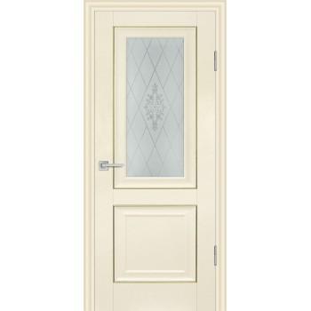 Дверь PSB-27 Ваниль  Экошпон Сатинат, пескоструйная обработка со стеклом (Товар № ZF114276)
