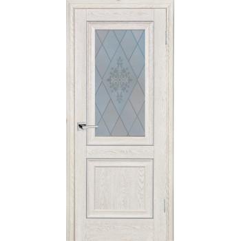 Дверь PSB-27 Дуб Гарвард кремовый  Экошпон Сатинат, пескоструйная обработка со стеклом (Товар № ZF114278)