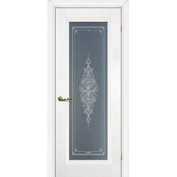 Дверь PSC-25 Белый  Экошпон Бесцветное Кристалайз со стеклом (Товар № ZF114301)