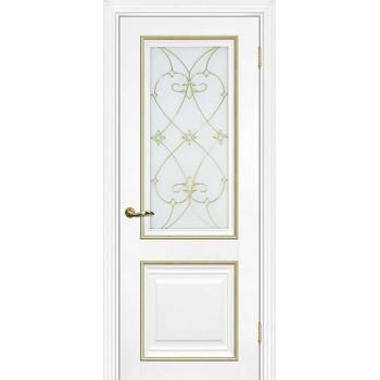 Дверь PSCL-27 Белый  Экошпон Белое, заливной витраж золото рис. Калипсо, двухсторонний со стеклом (Товар № ZF114338)
