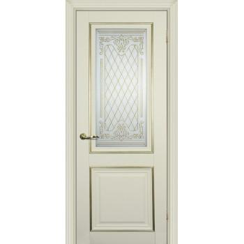 Дверь PSCL-27 Магнолия  Экошпон Белое, заливной витраж золото рис. Готика, двухсторонний со стеклом (Товар № ZF114339)