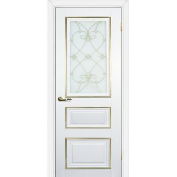 Дверь PSCL-29 Белый  Экошпон Белое, заливной витраж золото рис. Калипсо, двухсторонний со стеклом (Товар № ZF114342)