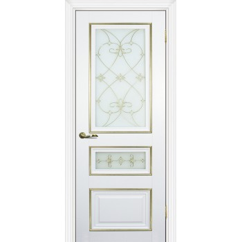 Дверь PSCL-29-2 Белый  Экошпон Белое, заливной витраж золото рис. Калипсо, двухсторонний со стеклом (Товар № ZF114345)