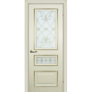 Дверь PSCL-29-2 Магнолия  Экошпон Белое, заливной витраж золото рис. Калипсо, двухсторонний со стеклом (Товар № ZF114346)
