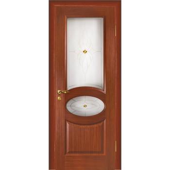 Дверь Алекс Красное дерево  Шпон Сатинат, художественное, фьюзинг со стеклом (Товар № ZF114515)