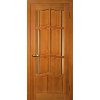 Дверь Ампир ДБО Тонированная сосна  Массив Бронза рифленное со стеклом (Товар № ZF114524)