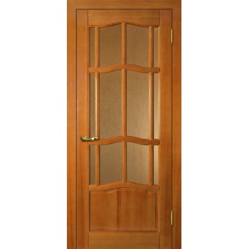 Дверь Ампир ДО Тонированная сосна  Массив Бронза рифленное со стеклом (Товар № ZF114527)