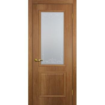 Дверь Верона 1 дуб арагон  PVC Сатинат, контурный полимер бесцветный со стеклом (Товар № ZF114543)