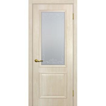 Дверь Верона 1 дуб бриош  PVC Сатинат, контурный полимер бесцветный со стеклом (Товар № ZF114545)
