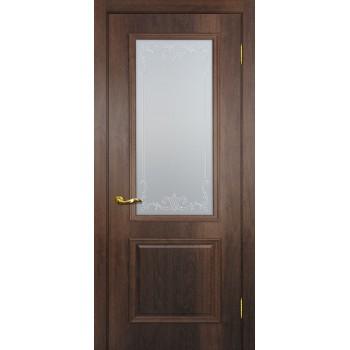 Дверь Верона 1 дуб сан-томе  PVC Сатинат, контурный полимер бесцветный со стеклом (Товар № ZF114547)