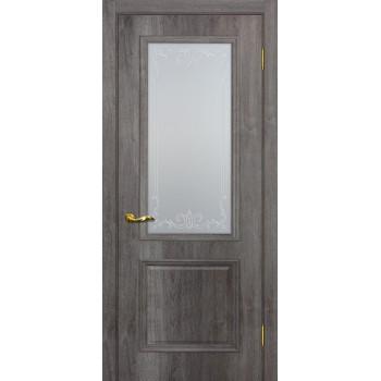 Дверь Верона 1 дуб тофино  PVC Сатинат, контурный полимер бесцветный со стеклом (Товар № ZF114549)