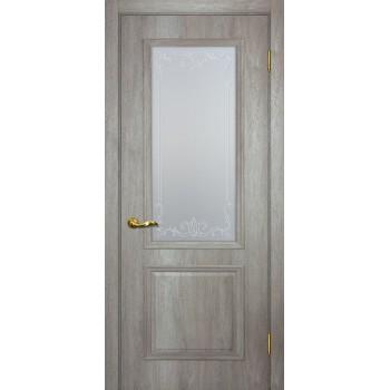 Дверь Верона 1 дуб эссо  PVC Сатинат, контурный полимер бесцветный со стеклом (Товар № ZF114551)