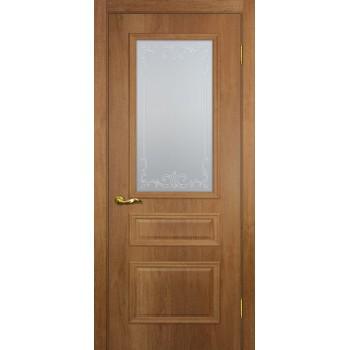 Дверь Верона 2 дуб арагон  PVC Сатинат, контурный полимер бесцветный со стеклом (Товар № ZF114553)