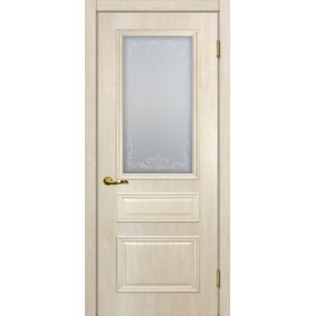 Дверь Верона 2 дуб бриош  PVC Сатинат, контурный полимер бесцветный со стеклом (Товар № ZF114555)