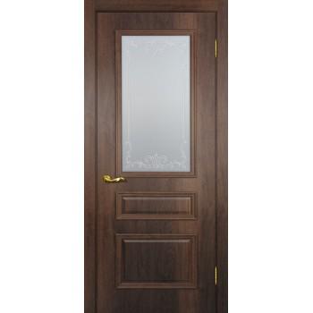 Дверь Верона 2 дуб сан-томе  PVC Сатинат, контурный полимер бесцветный со стеклом (Товар № ZF114557)