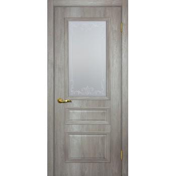 Дверь Верона 2 дуб эссо  PVC Сатинат, контурный полимер бесцветный со стеклом (Товар № ZF114561)