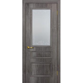 Дверь Верона 2 дуб тофино  PVC Сатинат, контурный полимер бесцветный со стеклом (Товар № ZF114559)