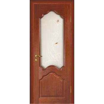 Дверь Кардинал Красное дерево  Шпон Сатинат, художественное, фьюзинг со стеклом (Товар № ZF114596)