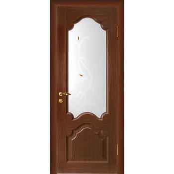 Дверь Кардинал Темный орех  Шпон Сатинат, художественное, фьюзинг со стеклом (Товар № ZF114600)