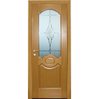 Дверь Милано Светлый дуб  Шпон Сатинат, пескоструйная обработка со стеклом (Товар № ZF114618)