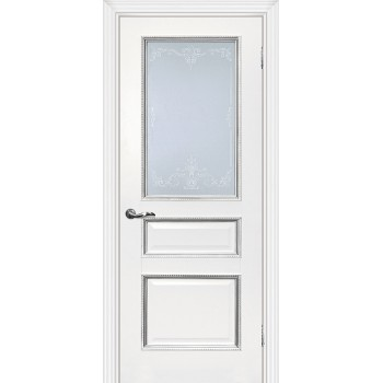 Дверь Мурано-2 Белый серебро  Экошпон Сатинат, контурный полимер серебро со стеклом (Товар № ZF114632)