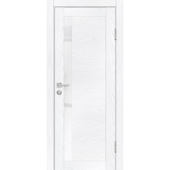 Дверь PSM-11 Дуб скай белый  Экошпон белоснежный лакобель со стеклом (Товар № ZF213356)