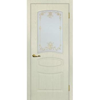 Дверь Сиена-5 Ваниль  PVC Сатинат, контурный полимер золото со стеклом (Товар № ZF114690)