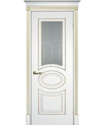 Дверь Смальта 03 Белый ral 9003 патина золото  Эмаль Сатинат, пескоструйная обработка со стеклом (Товар № ZF114711)