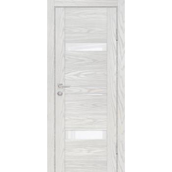 Дверь PSM-12 Дуб скай бежевый  Экошпон белоснежный лакобель со стеклом (Товар № ZF213360)