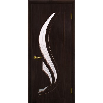 Дверь Трио Венге (Эбен)  PVC Сатинат, пескоструйная обработка со стеклом (Товар № ZF114967)