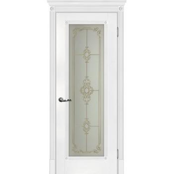 Дверь Флоренция-1 Белый  Экошпон Сатинат, контурный полимер золото со стеклом (Товар № ZF114973)