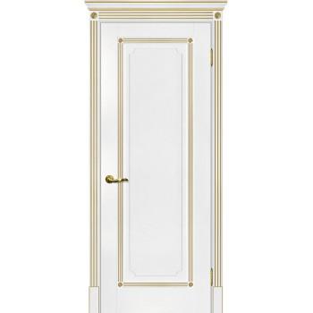 Дверь Флоренция-1 белый, патина золото  Экошпон глухое (Товар № ZF114974)