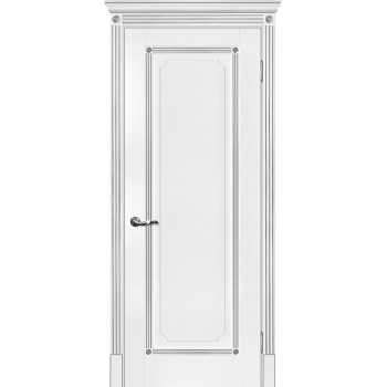 Дверь Флоренция-1 белый, патина серебро  Экошпон глухое (Товар № ZF114976)