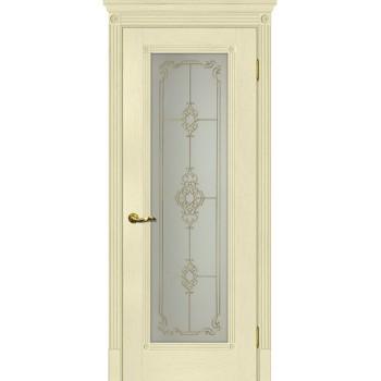 Дверь Флоренция-1 Ваниль  Экошпон Сатинат, контурный полимер золото со стеклом (Товар № ZF114979)